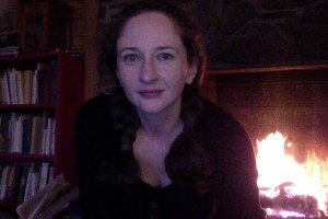 Self portrait by the fire